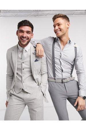 ASOS Wedding - Giacca da abito super skinny in cotone e lino elasticizzato a quadri