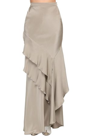 Max Mara Gonna In Seta Crepe De Chine Con Ruches