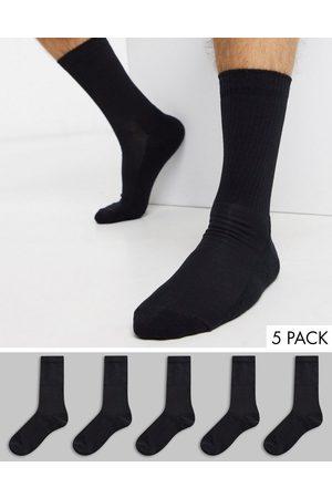 New Look Confezione da 5 paia di calzini sportivi neri