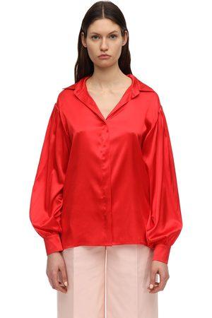 LESYANEBO Camicia In Raso Di Seta