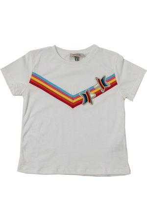 Dixie T-shirt bianca con dettagli applicati multicolor