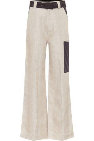 Ganni Pantaloni cargo a vita alta in lino