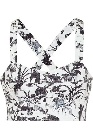 Erdem Top bustier Abril a stampa in cotone
