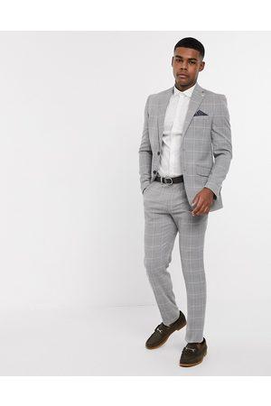 Burton Pantaloni da abito slim grigi e rosa a quadri