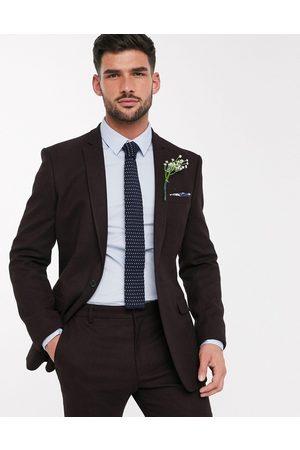 ASOS Wedding - Giacca da abito skinny effetto lana bordeaux