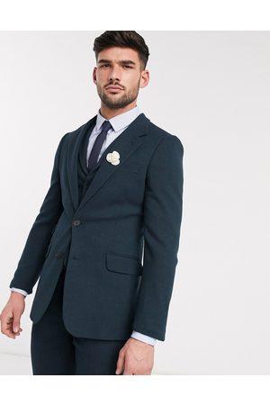 ASOS Giacca da abito da matrimonio super skinny in twill misto lana scuro