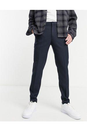 ASOS Uomo Slim & Skinny - Wedding - Pantaloni da abito super skinny navy effetto lana