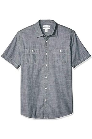 Amazon Uomo Maniche corte - Camicia da uomo a maniche corte in chambray, regular fit, Evelina, US XL