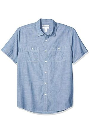 Amazon Camicia da uomo a maniche corte in chambray, regular fit, medio, US XL