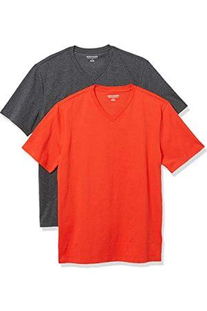 Amazon 2-Pack Slim-Fit V-Neck T-Shirt Fashion-t-Shirts, Bright Orange/Charcoal Heather Grey, US