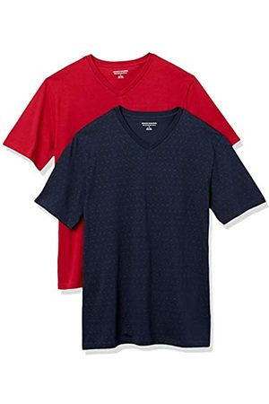 Amazon Uomo Polo - 2-Pack Slim-Fit V-Neck T-Shirt Fashion-t-Shirts, Red DOT/Red, US L