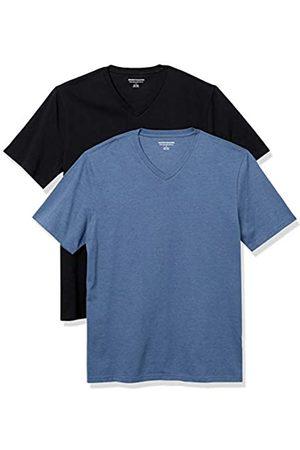 Amazon Essentials 2-Pack Slim-Fit V-Neck T-Shirt Fashion-t-Shirts, Black/Navy Heather, US XXL