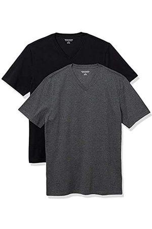 Amazon 2-Pack Slim-Fit V-Neck T-Shirt Fashion-t-Shirts, Black/Charcoal Heather, US XXL