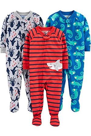 Simple Joys by Carter's Baby and Toddler - Pigiama per bambini in jersey di poliestere con piede, confezione da 3 ,Iguana/Sea Creatures/Shark ,24 Months