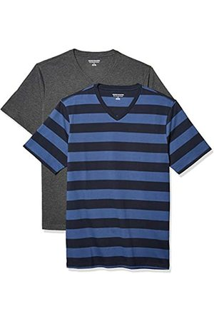 Amazon 2-Pack Slim-Fit V-Neck T-Shirt Fashion-t-Shirts, Blue And Navy Rugby Stripe/Charcoal Heather, US L