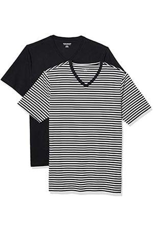 Amazon 2-Pack Slim-Fit V-Neck T-Shirt Fashion-t-Shirts, Black-White Stripe/Black, US XXL