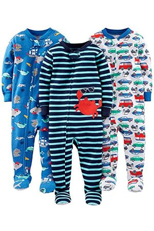 Simple Joys by Carter's Baby and Toddler Pigiama in cotone con piede, confezione da 3 ,Crab/Sea Creatures/Cars ,5T