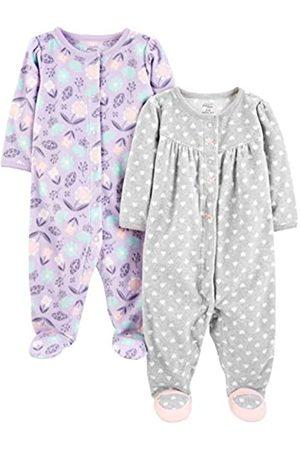 Simple Joys by Carter's Bambina Accappatoi e vestaglie - Baby Girls - Confezione da 2 pile con piedini per dormire e giocare ,Purple/Flowers/Gray Dot ,0-3 Months
