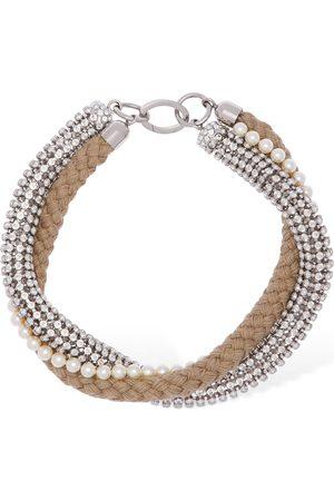 Miu Miu Crystal & Imitation Pearl Necklace
