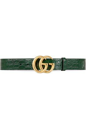 Gucci Cintura GG Marmont in caimano con fibbia lucida