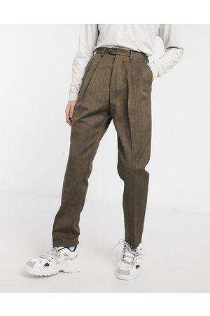 ASOS Pantaloni con fondo ampio a vita alta rigato