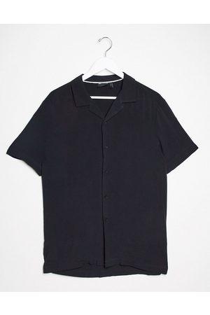 ASOS Camicia vestibilità classica in viscosa nera con rever