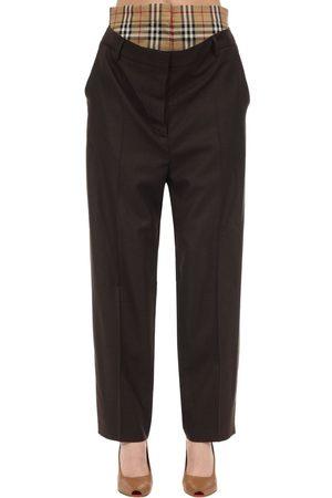 Burberry Pantaloni In Lana Con Inserto Check