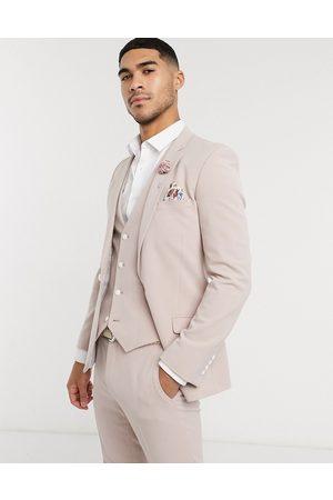 ASOS Giacca da abito da matrimonio super skinny in tessuto elaticizzato in quattro direzioni color visone