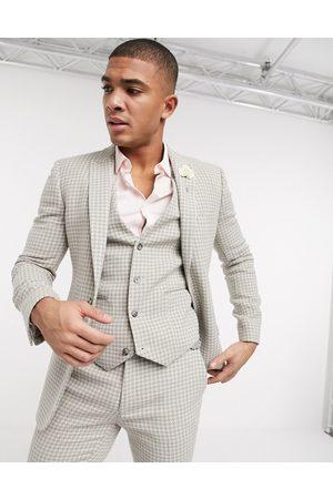 ASOS Wedding - Giacca super skinny da abito in misto lana pied de poule naturale-Pietra