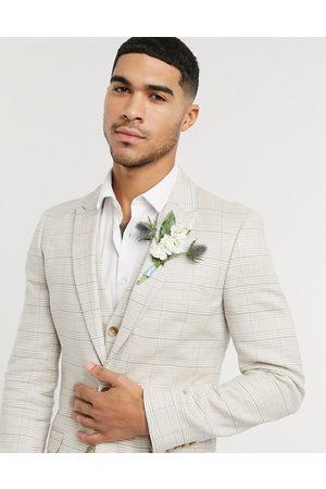 ASOS Wedding - Giacca da abito super skinny in cotone e lino elasticizzato pietra a quadri