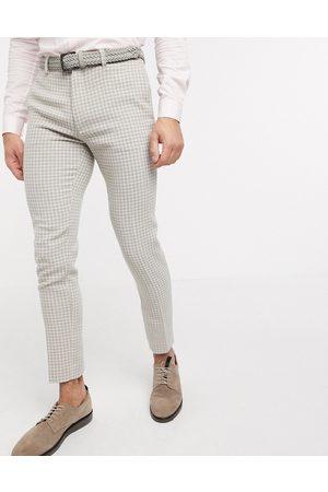 ASOS Wedding - Pantaloni super skinny da abito neutrali in misto lana pied de poule-Pietra