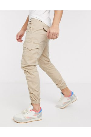 jack & jones Intelligence - Pantaloni cargo slim con fondo elasticizzato colro sabbia chiaro-Cuoio