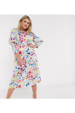Never Fully Dressed Vestito midi con maniche lunghe arricciate e stampa puntinata fluo a contrasto