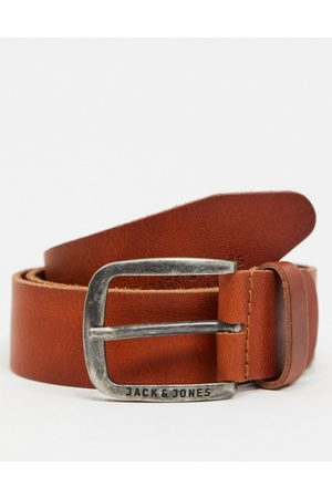 Jack & Jones Cintura in pelle liscia con fibbia e logo