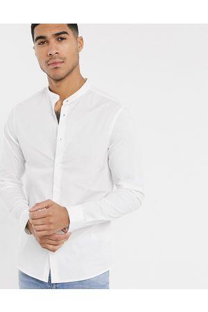 ASOS Camicia skinny stretch bianca con collo serafino