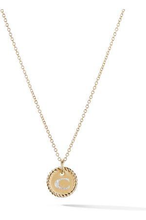 David Yurman Collana Cable Collektibles in oro giallo 18kt e diamanti con pendente e lettera C - 88ADI