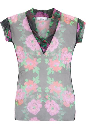 AMIR SLAMA Floral tulle blouse - PRETO