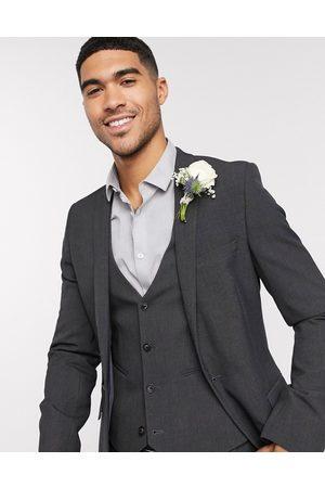 ASOS Wedding - Giacca da abito super skinny antracite elasticizzata in quattro direzioni