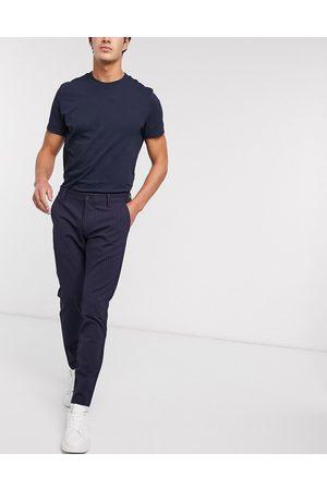 Only & Sons Pantaloni stretch eleganti navy gessato