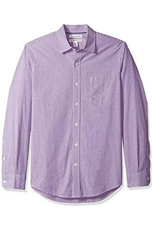 Amazon Slim-Fit Long-Sleeve Gingham Shirt Camicia Che Si abbottona, Purple Mini, XXL