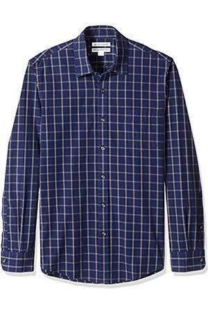 Amazon Camicia da uomo a maniche lunghe, slim fit, in popeline casual, Navy Windowpane, US M