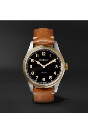 Mont Blanc Uomo Orologi - 1858 Automatic 40mm Stainless Steel, Bronze and Leather Watch, Ref. No. 117833