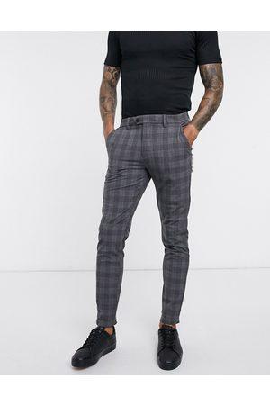 Jack & Jones Intelligence - Pantaloni eleganti slim grigio chiaro a quadri