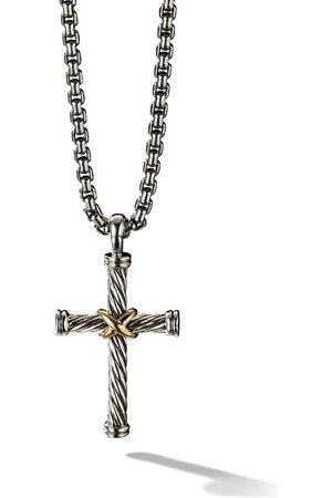 David Yurman Uomo Collane - Collana con pendente a croce in argento e oro 18 kt - S8