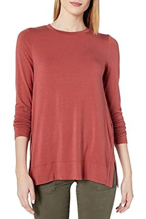 Daily Ritual Long-Sleeve Split-Hem Tunic Shirts, Brick, US M