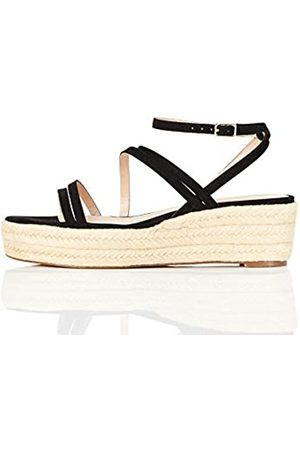 FIND Marchio Amazon - Strippy Wedge Espadrille Sandalo Espadrillas con Zeppa, Nero , 40 EU