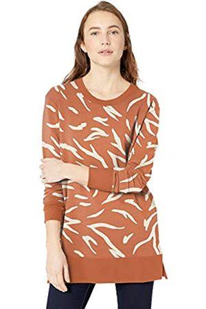 Daily Ritual Spugna di Cotone e Modal Ventilazione Laterale Tunica Shirts, Stampa zebrata Astratta e Bianca, US XL
