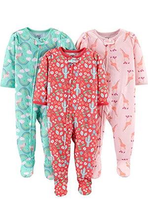 Simple Joys by Carter's Pigiama per neonata e bambina, in jersey di poliestere, con piede, confezione da 3 ,Giraffe/Rainbow/Floral ,24 Months