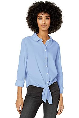 Goodthreads Lightweight Poplin Tie-Front Shirt Button-Down-Shirts, Light Blue Novelty Weave, US