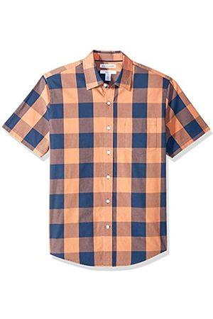 Amazon Essentials Camicia da uomo a maniche corte, in popeline, stile casual, Slim Fit, Blue/Orange Buffalo, US XS